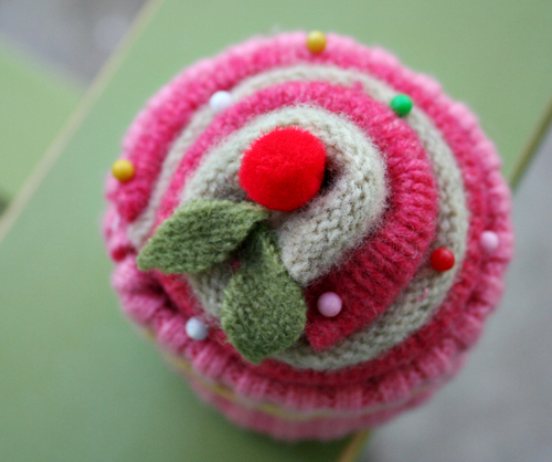 felted wool cupcake
